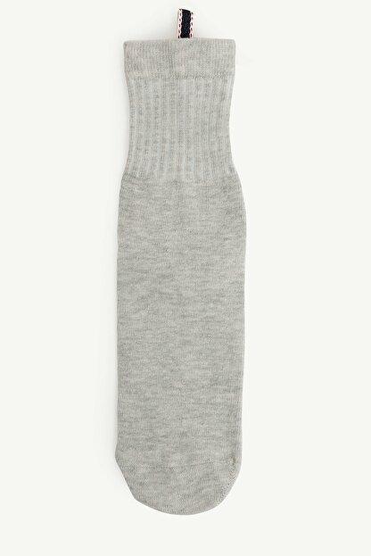 Yargıcı Kadın Gri Biye Detaylı Çorap 0YKCR4009X
