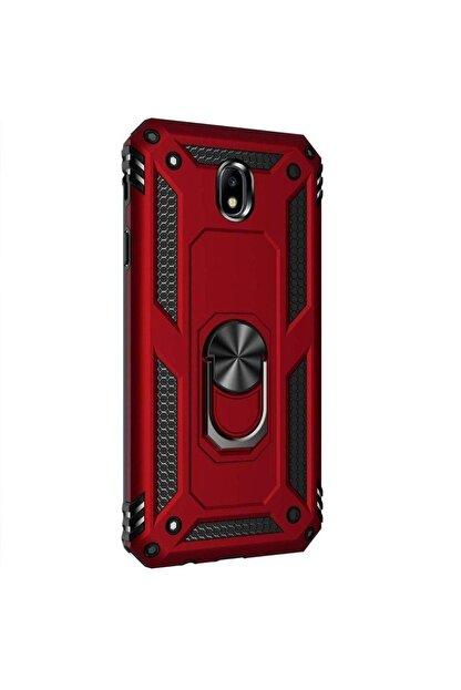 Vision Samsung Galaxy J7 Pro Kılıf Vega Zırhlı Standlı Mıknatıslı Kırmızı