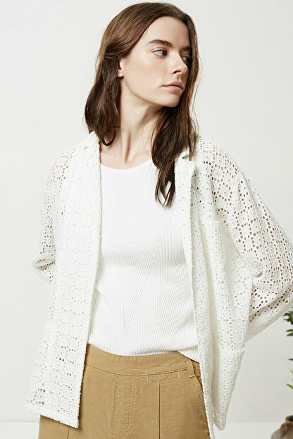 Yargıcı Kadın Kırık Beyaz Brode Ceket 0YKCK5150X