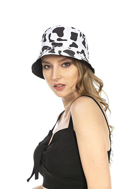 Y-London 14018 Inek Desenli Çift Taraflı Beyaz-siyah Bucket Şapka