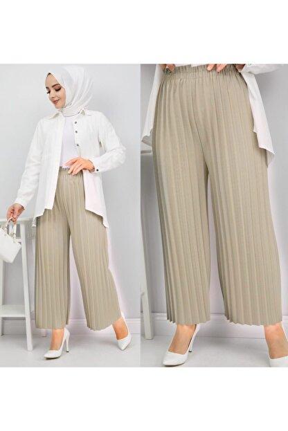 NACAR STORE Kadın Bej Piliseli Bel Lastikli Salaş Pantolon