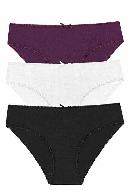 Suwen Kadın Blck/Ecr/Purple 3 Lü Renkli Külot