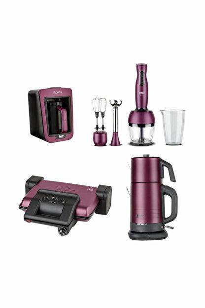 Fakir Violet 4Lü Çeyiz Seti Violet (Çay, Kahve, Tost Makinesi Ve Blender Seti) Mor