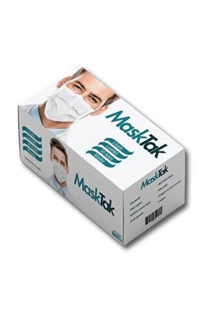masktak 3 Katlı Telli Cerrahi Maske 1 Kutu 50 Adet Kutu Burun Yeni Nesil Elastan Bant
