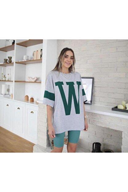 blackjack giyim Kadın Gri Oversize W Tshirt