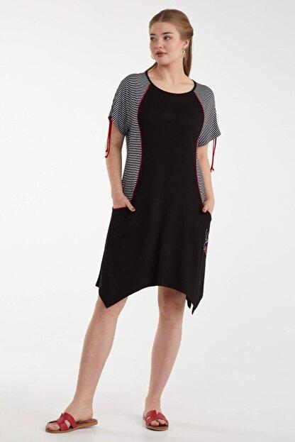 Sementa Büyük Beden Kadın Marine Elbise - Siyah
