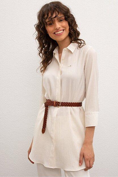 US Polo Assn Beyaz Kadın Dokuma Gömlek