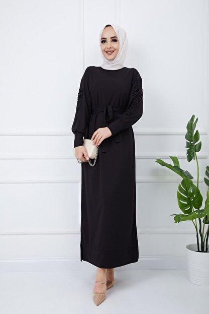 SULTAN BUTİK Kadın Siyah Kol İnci ve Dantel Detaylı Elbise