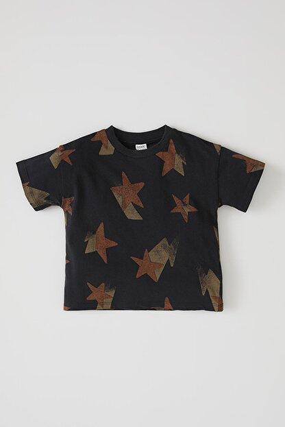 Defacto Erkek Bebek Yıldız Baskılı Kısa Kol Pamuklu Tişört