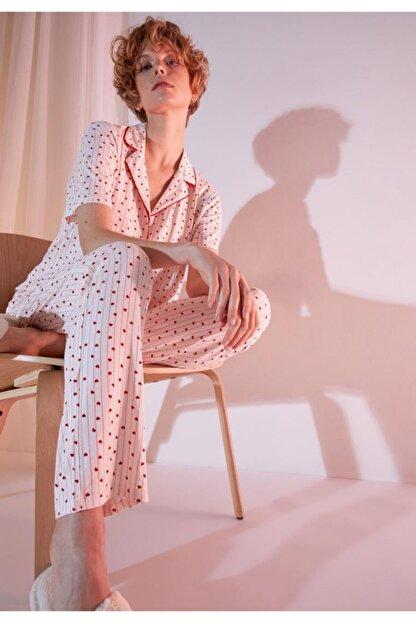 Defacto Kadın Ekru Kalp Desenli Gömlek Yaka Pijama Takımı
