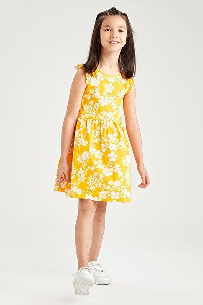 Defacto Kız Çocuk Sarı Çiçek Desenli Kolsuz Elbise