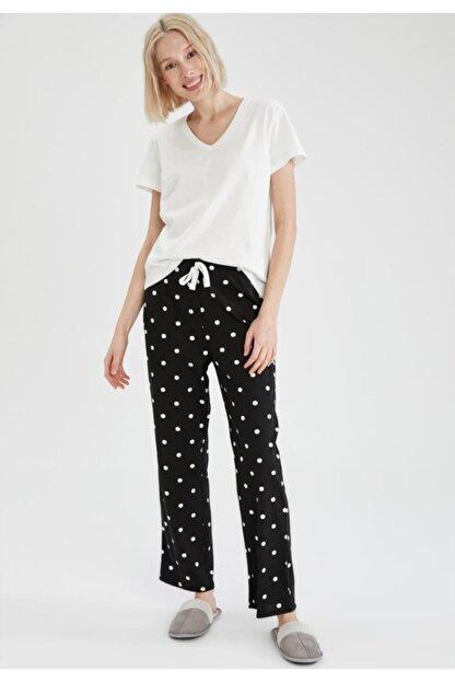 Defacto Puantiye Desenli Kısa Kollu Relax Fit Pijama Takımı