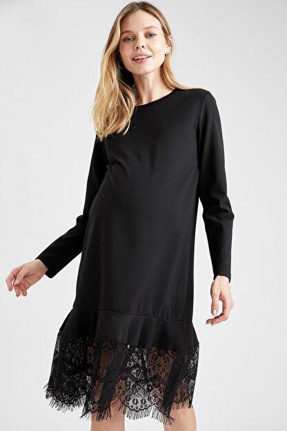 Defacto Kadın  Black Red Hamile Dantel Detaylı Elbise T6039AZ20WN