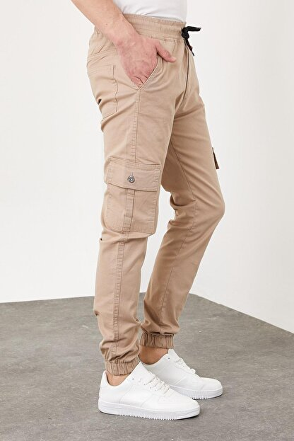 Enuygunenmoda Erkek Slim Fit Jogger Pantolon Bej
