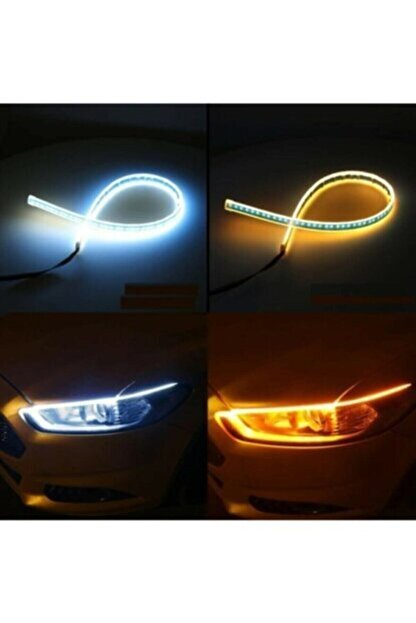 FESAN Far Üstü Kayar Sinyalli Led Gündüz Farı Şerit Lamba Takımı 60 cm