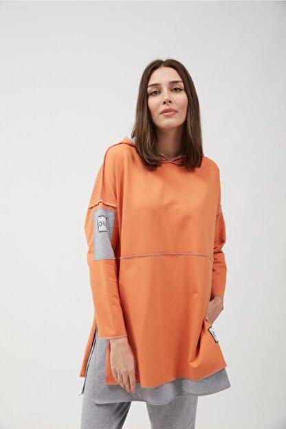 oia Kadın Oranj Renk Pamuklu Tunik Sweatshirt