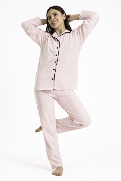 TAMPAP Kadın Düğmeli Pijama Takımı Puantiyeli 120