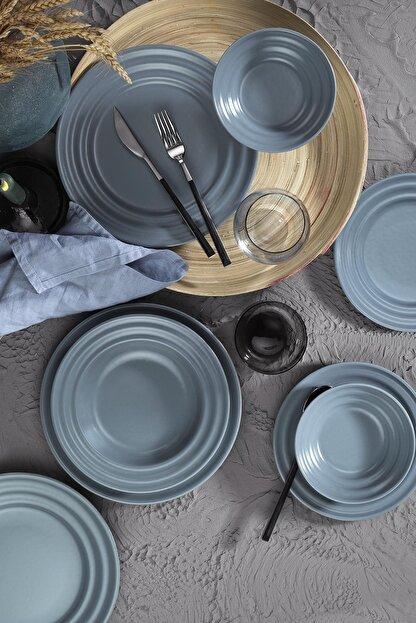 Kütahya Porselen Gri New Tuvana  Yemek Seti 24 Parça