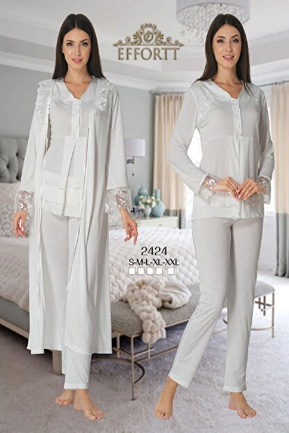 Effort Pijama Zerre Bebe Kadın Ekru Uzun Kollu Lohusa Hamile Pijama Takımı Sabahlık Effort 2424