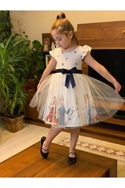 Mnk Tüllü Baskılı Beyaz Krep 5 Yaş Elbise