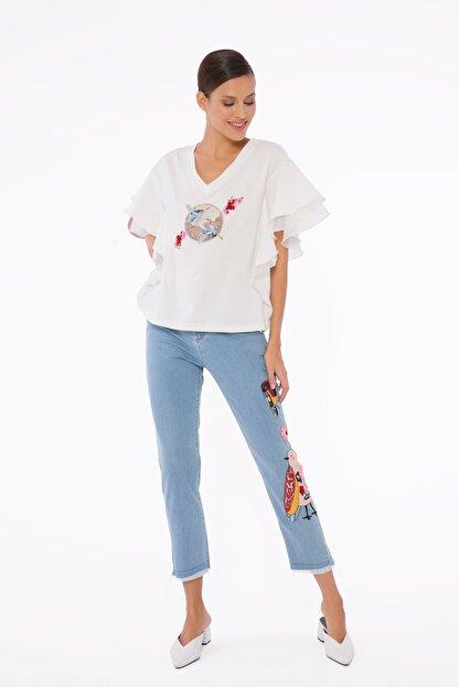 GIZIA Kadın Mavi İşlemeli Pantolon M1d040