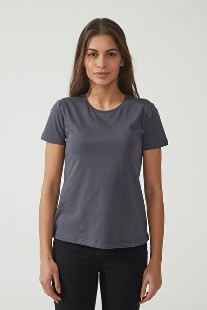 CROSS JEANS Kadın Antrasit Bisiklet Yaka Regular Basic T-shirt 55795-021