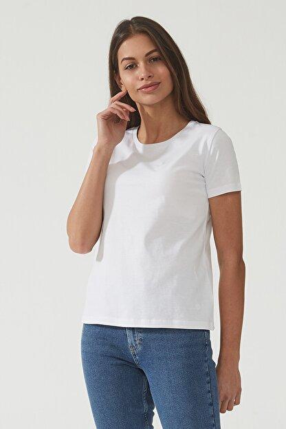 CROSS JEANS Kadın Beyaz Bisiklet Yaka Regular Basic T-shirt 55795-008