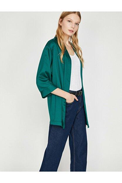 Koton Kadın Yeşil Desenli Kimono 9YAK58144CW