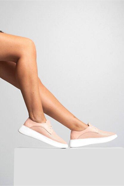 GRADA Kadın Pudra Hakiki Deri Yüksek Taban Sneaker