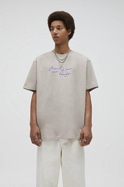 Pull & Bear Kavruk Menekşe Rengi Sloganlı T-Shirt 04241567