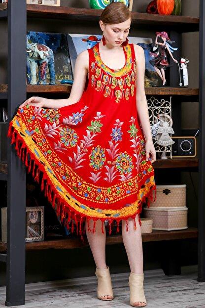 Chiccy Kadın Kiremit Batik Yakası Ve Etek Ucu Çiçek Desenli Salaş Dokuma Elbise M10160000EL95137