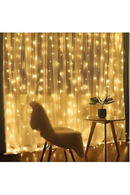 GÖBEKLİTEPE TİCARET Alitech 2,5x2,5 Günışığı Sarı Renk Prizli Perde Led Işık Dekoratif Saçak Led