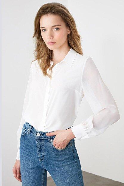 Madmext Kadın Beyaz Saten Gömlek Mg1034