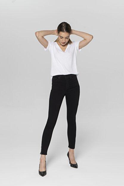 CROSS JEANS Judy Siyah Yüksek Bel Paçası Fermuarlı Skinny Fit Jean Pantolon