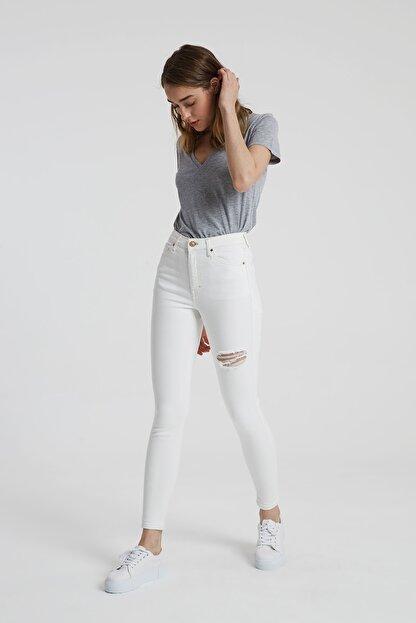 CROSS JEANS Judy Beyaz Yüksek Bel Kesikli Skinny Fit Jean Pantolon