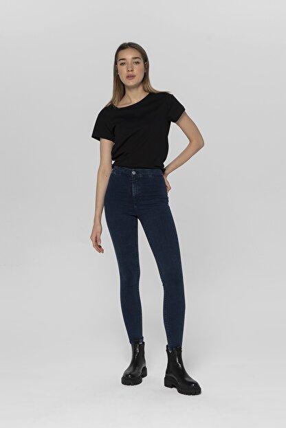 CROSS JEANS Janıe Koyu Mavi Yüksek Bel Önü Cepsiz Jegging Jean Pantolon