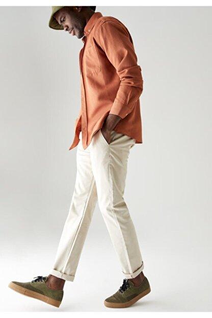 Defacto Erkek Bej Regular Fit Basic Pamuklu Chino Pantolon