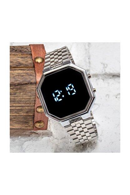 Spectrum Silver Gümüş Renk Dijital Led Watch Çelik Kordonlu Detay Kasa Kol Saati St-303425
