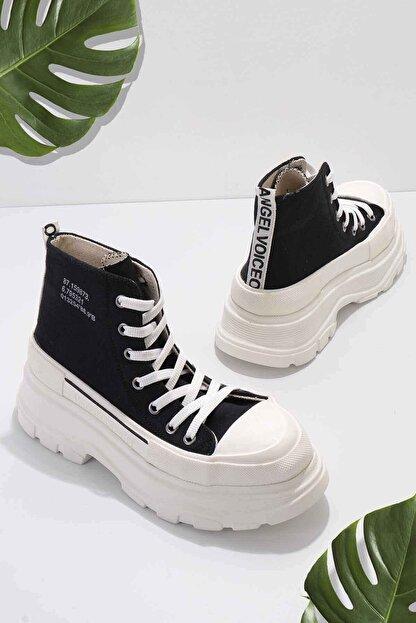 Bambi Siyah Beyaz Kadın Sneaker K01530120018