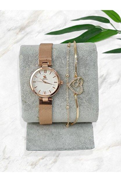 G-Sport POLO Kadın  Rose Hasır Kordon Bileklik Saat Kombini