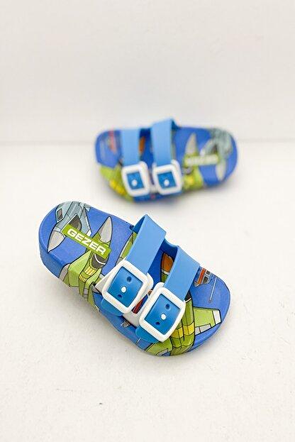 Gezer Erkek Çocuk Mavi Yazlık Robot Figürlü  Terlik Modeli -