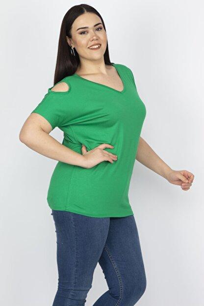 Şans Kadın Yeşil Omuz Dekolteli Viskon Bluz 65N22698