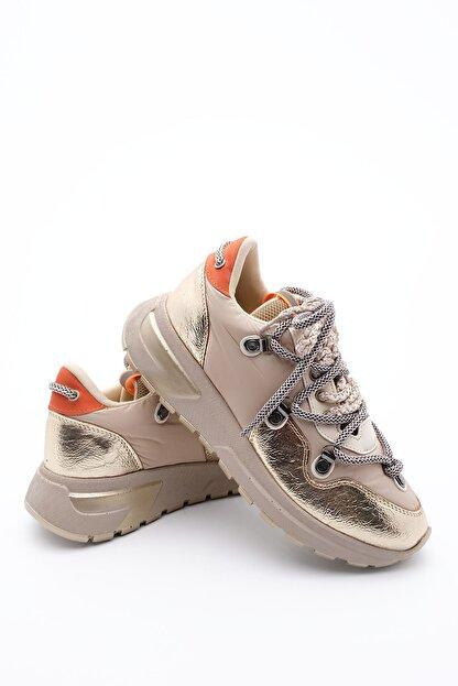 Marjin Kadın Altın Dolgu Topuk Spor Ayakkabı Sneaker