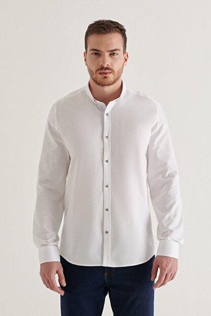 Avva Erkek Beyaz Düz Düğmeli Yaka Regular Fit Gömlek A11y2026