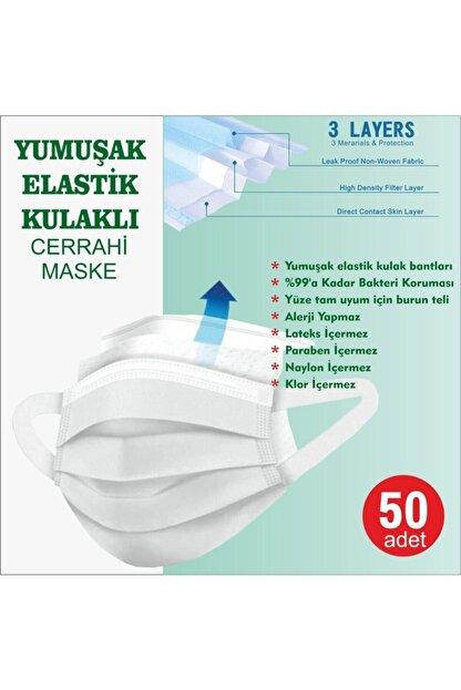 LASERA Yeşil Yumuşak Elastik Kulaklı Yeni Nesil Maske 50 Adet