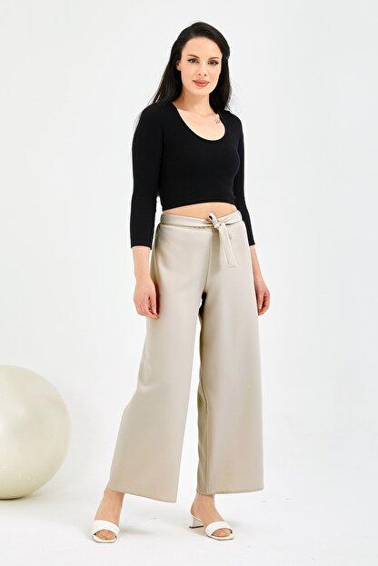 Gentekstil Kadın Bej Bel Lastikli Rahat Kesim Pantolon