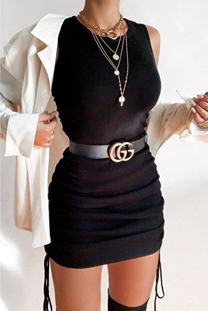 MODAGEN Kadın Siyah Yanları Büzgülü Kolsuz Kaşkorse Elbise