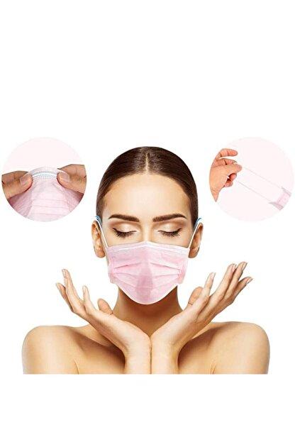 Moda Maske Pembe Renk Ultrasonik 3 Katlı Telli Tek Kullanımlık Cerrahi Maske - 50 Adet