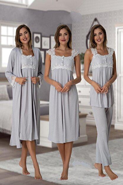 Effort Pijama Zerre Bebe Kadın Gri Pijama Takımı Gecelik Sabahlık Lohusa Hamile 4'lü Set 2305