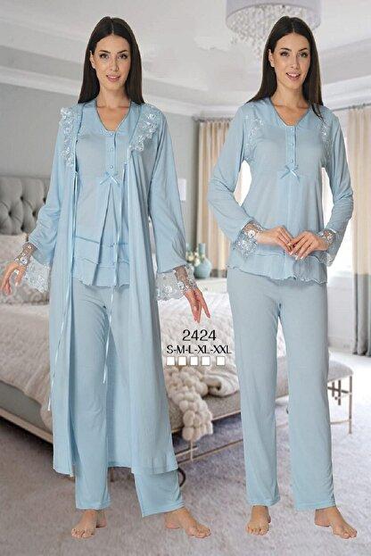 Effort Pijama Zerre Bebe Kadın Mavi Uzun Kollu Lohusa Hamile Pijama Takımı Sabahlık Effort 2424